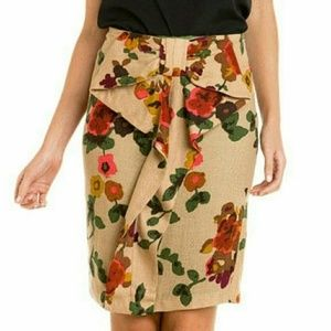 EVA FRANCO Bow Brown Pencil Skirt Sz 12